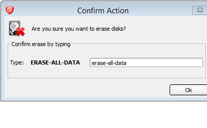 Input ERASE-ALL-DATA into the confirmation box