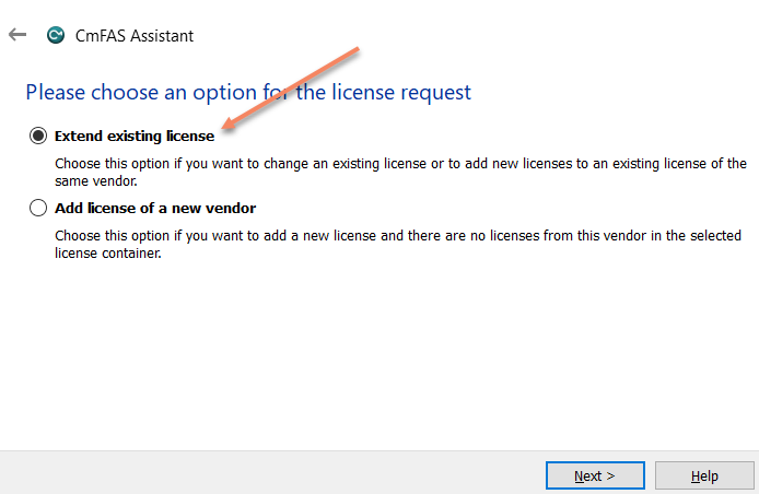Extend existing license