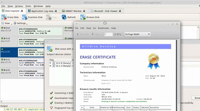 Disk erasure certificate will automatically be printed