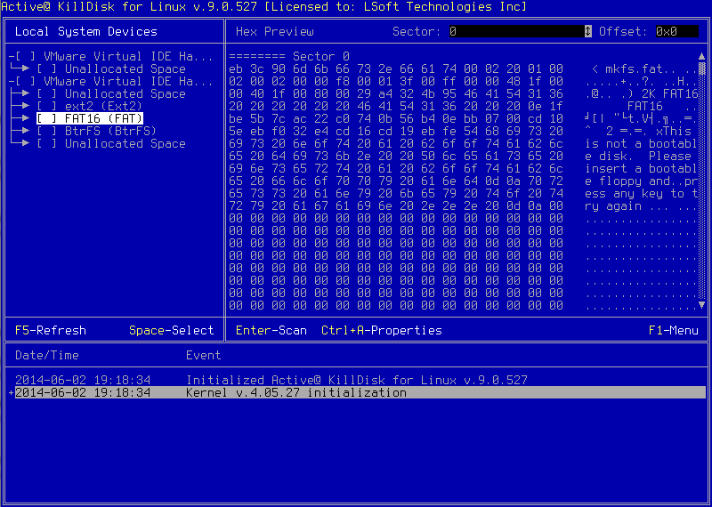 Active@ KillDisk for Linux. Hex Data Viewer.