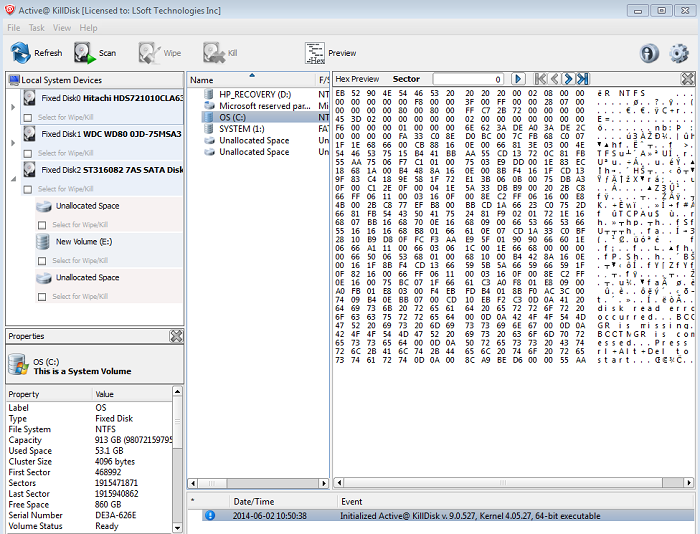 Active@ KillDisk Windows. Erasing Data from Hard Disk. Data Viewer.